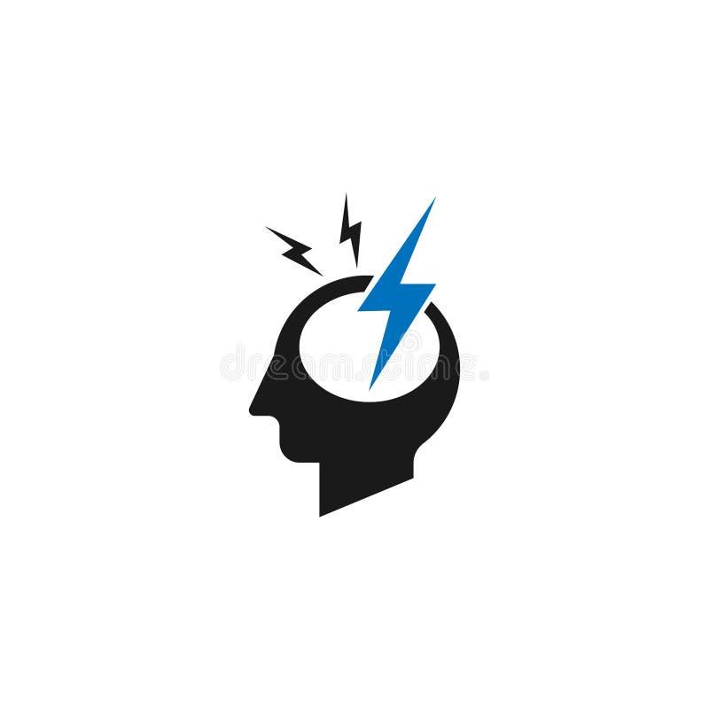 Иллюстрация логотипа мигрени Логотип головной боли с отказом в голове Фармацевтический схематический знак концепция значка логоти иллюстрация вектора