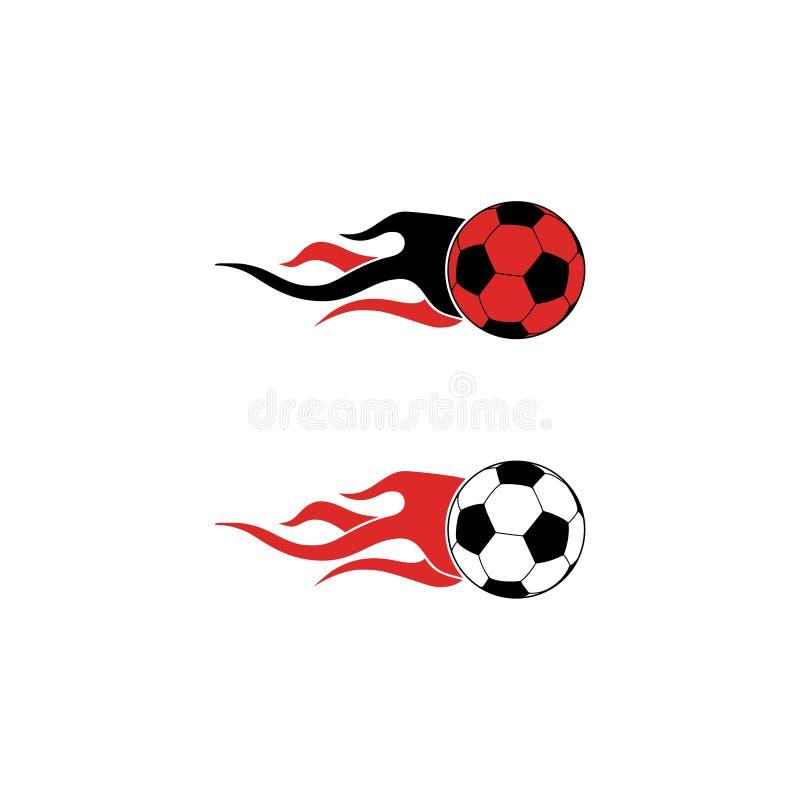 Иллюстрация логотипа футбольного мяча пылать иллюстрация штока