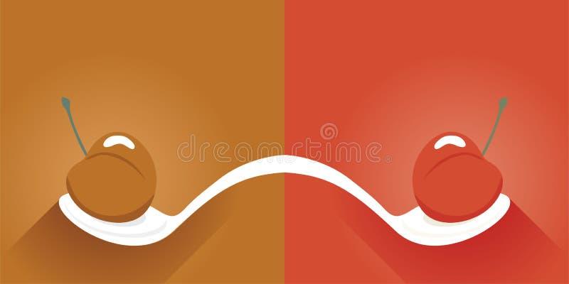 Иллюстрация ложки и вишни бесплатная иллюстрация
