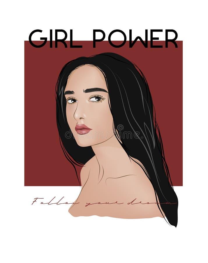 Иллюстрация лозунга силы девушки Улучшите для оформления как плакаты, искусства стены, сумки, печати футболки, стикера иллюстрация штока