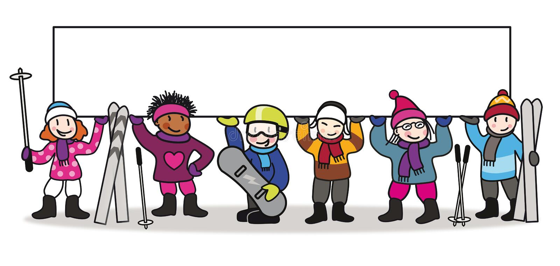Иллюстрация лыжного курорта красочная с детьми иллюстрация вектора