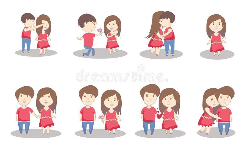 Иллюстрация любов пар дня Святого Валентина с супругом и Жена-вектором сердца бесплатная иллюстрация