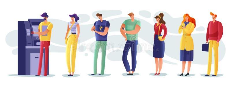 Иллюстрация людей очереди ATM иллюстрация штока