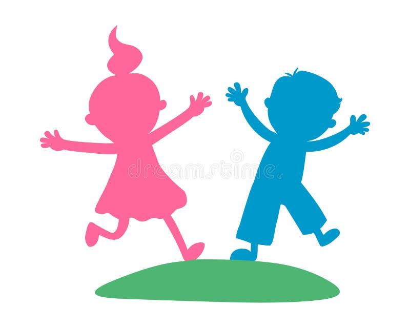 Иллюстрация мальчика и девушки вектор малышей иллюстрация вектора
