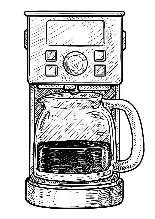 Иллюстрация машины кофеварки, чертеж, гравировка, чернила, линия искусство, вектор иллюстрация штока