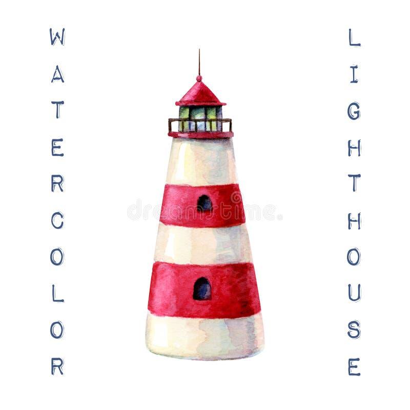 Иллюстрация маяка акварели руки вычерченная красный striped маяк изолированный на белизне Оно идеальный для карты, открытки, плак стоковые изображения rf