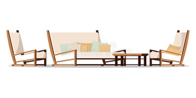 Иллюстрация мебели зоны крылечка дизайна вектора плоская бесплатная иллюстрация