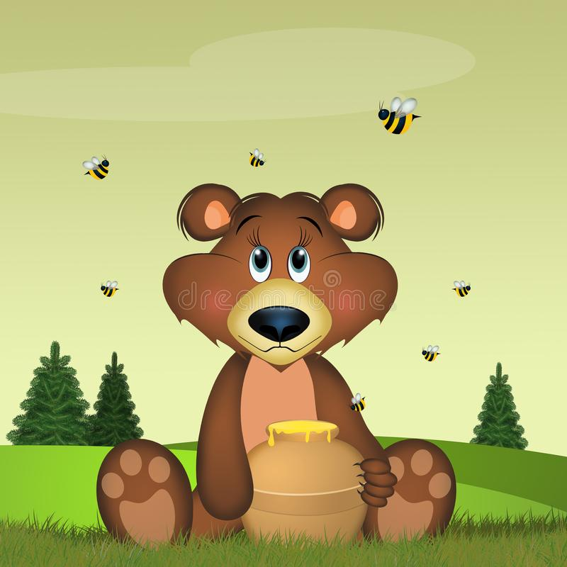 иллюстрация медведя ест мед иллюстрация штока