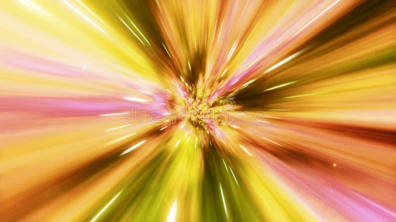 Иллюстрация межзвездного перемещения через желтую червоточину заполнила с звездами стоковые изображения