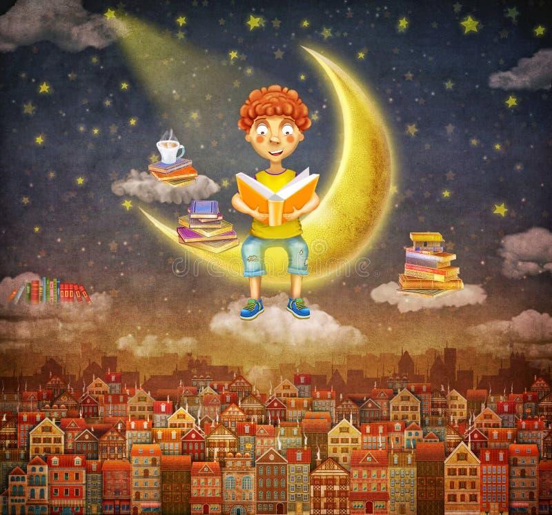 Иллюстрация меньшего молодого мальчика имбиря читая книгу на луне иллюстрация штока