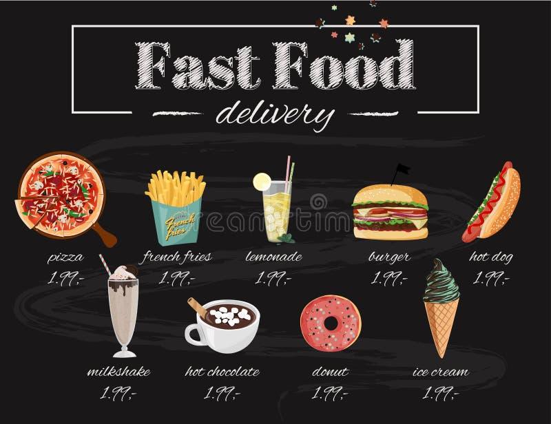 Иллюстрация меню кафа фаст-фуда Установите ед вектора руки вычерченных Пицца, хот-дог, бургер, milkshake, горячий шоколад иллюстрация вектора