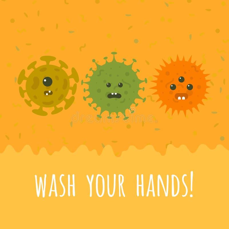 Иллюстрация микробов и текста шаржа бесплатная иллюстрация