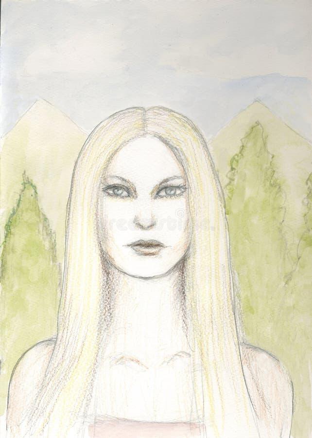 Иллюстрация милой белокурой женщины иллюстрация вектора
