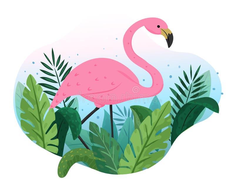 Иллюстрация милой розовой птицы фламинго, тропические листья вектора руки вычерченная бесплатная иллюстрация