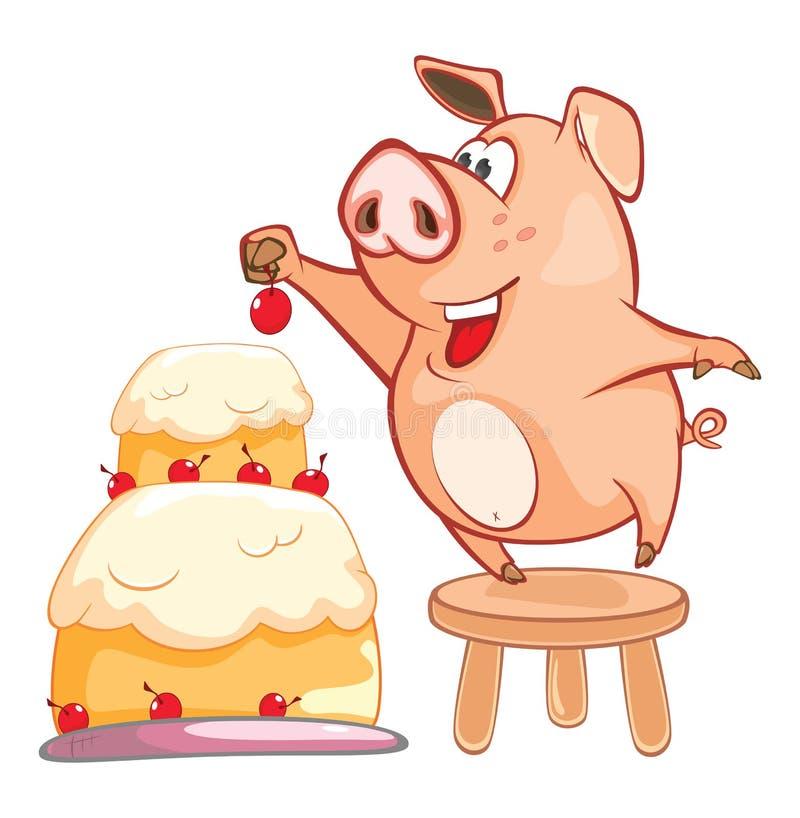 Иллюстрация милой свиньи головка дерзких милых собак персонажа из мультфильма предпосылки счастливая изолировала белизну усмешки иллюстрация вектора