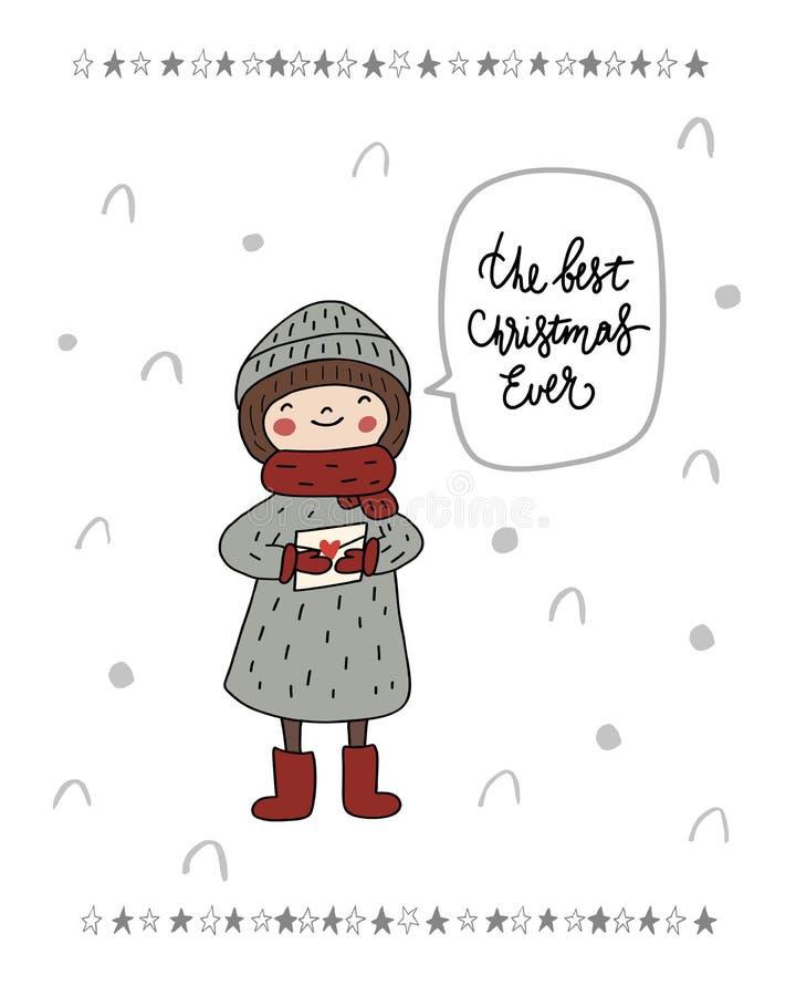 Иллюстрация младенца самого лучшего рождества вечно- девушки милого характера takling с письмом для Санта в шляпе, шарфа Вектор д бесплатная иллюстрация