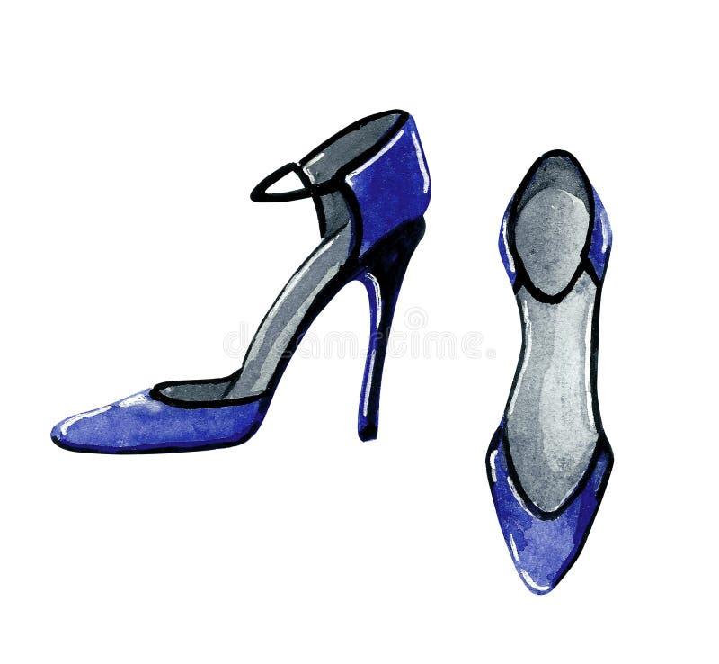 Иллюстрация моды акварели ботинок партии на высоких пятках в голубом цвете иллюстрация штока