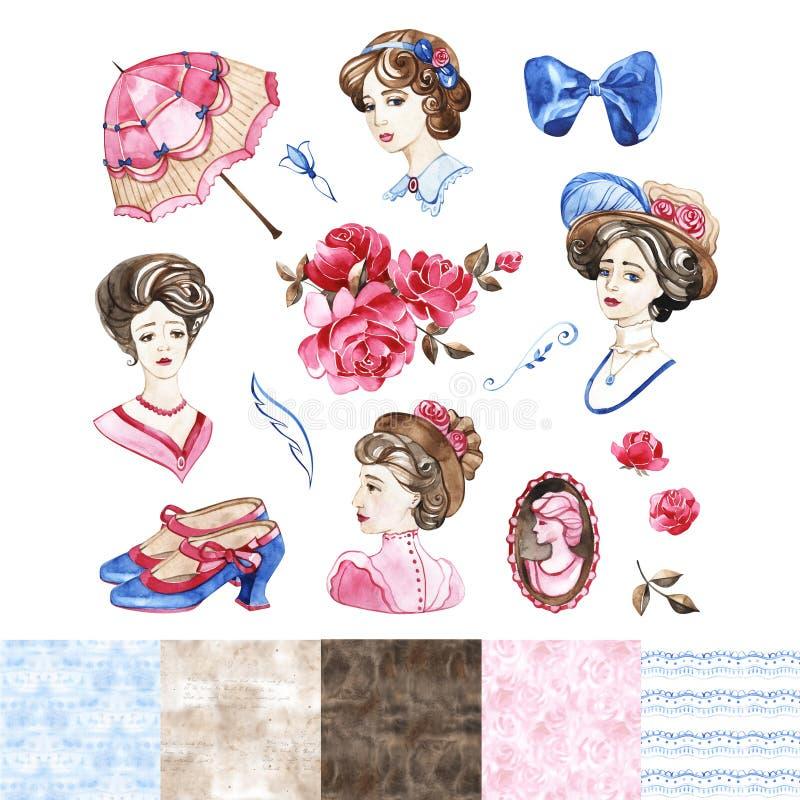 Иллюстрация моды акварели Установите ультрамодных аксессуаров Розовое цветение иллюстрация штока