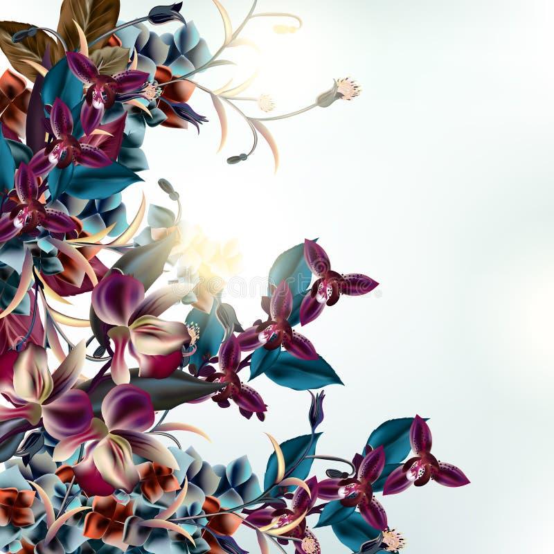 Иллюстрация моды с тропическими цветками орхидеи иллюстрация штока