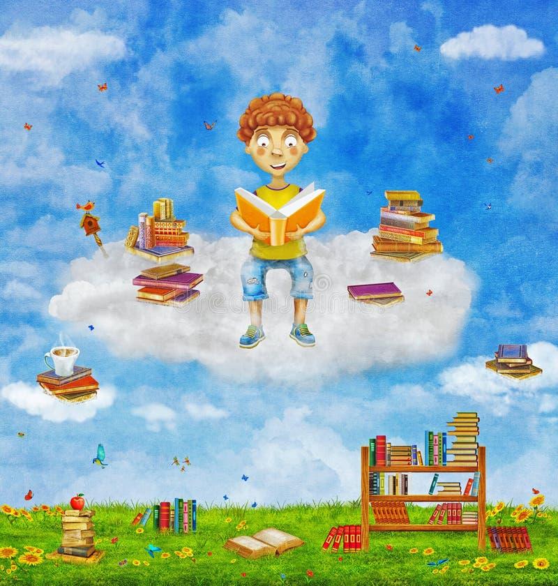 Иллюстрация молодого мальчика имбиря читая книгу на облаке, иллюстрация штока