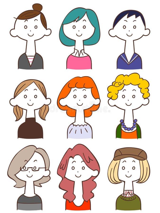 Иллюстрация молодой дамы установила 2 бесплатная иллюстрация