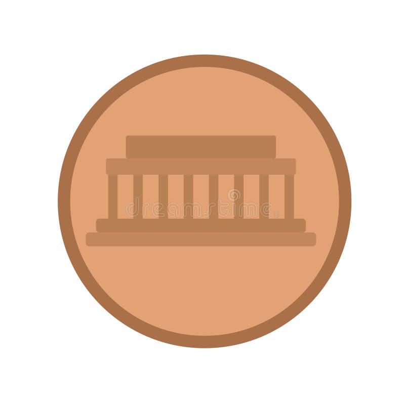 Иллюстрация монетки плоская на белизне иллюстрация вектора
