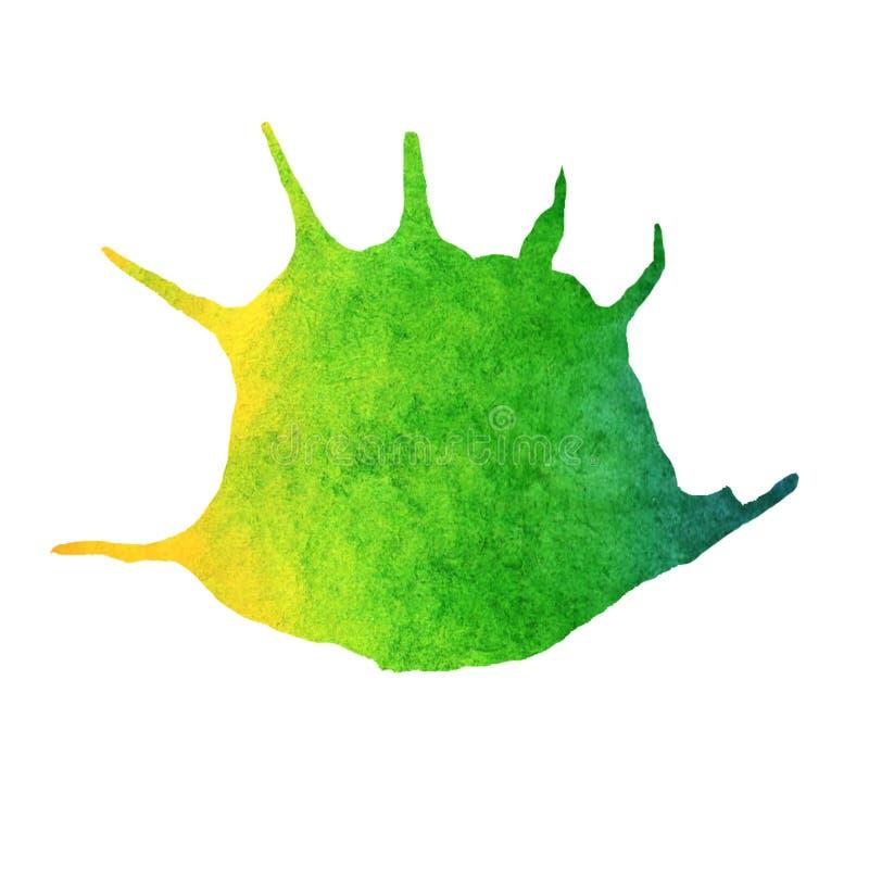 Иллюстрация моря лета акварели Покрашенная вручную раковина радуги иллюстрация вектора