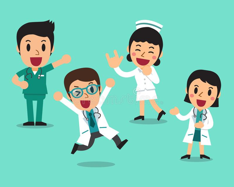 Иллюстрация мультфильма вектора докторов и медсестер характера иллюстрация вектора