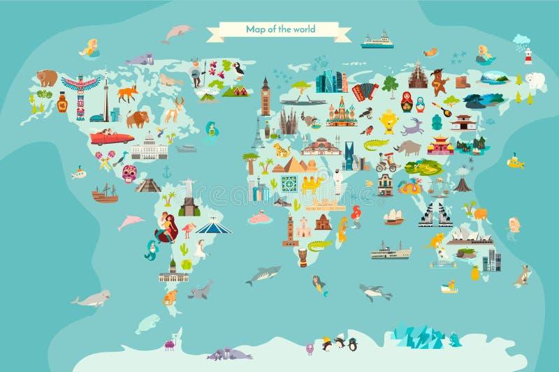 Иллюстрация мультфильма вектора карты мира ориентиров иллюстрация вектора