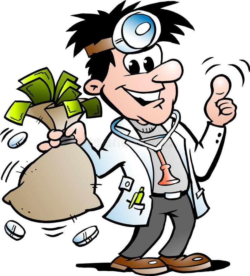 Иллюстрация мультфильма вектора счастливого доктора держа Moneybag бесплатная иллюстрация