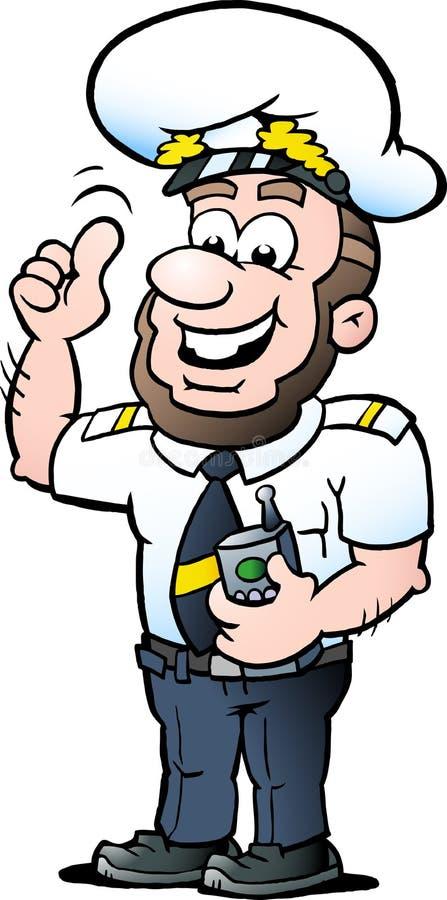Иллюстрация мультфильма вектора счастливого капитана корабля стоковое изображение