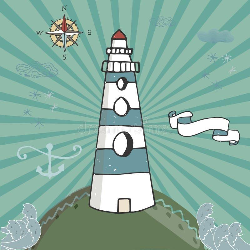 Иллюстрация мультфильма вектора с волнами и горами маяк на утесах, ландшафт моря с голубым небом иллюстрация вектора