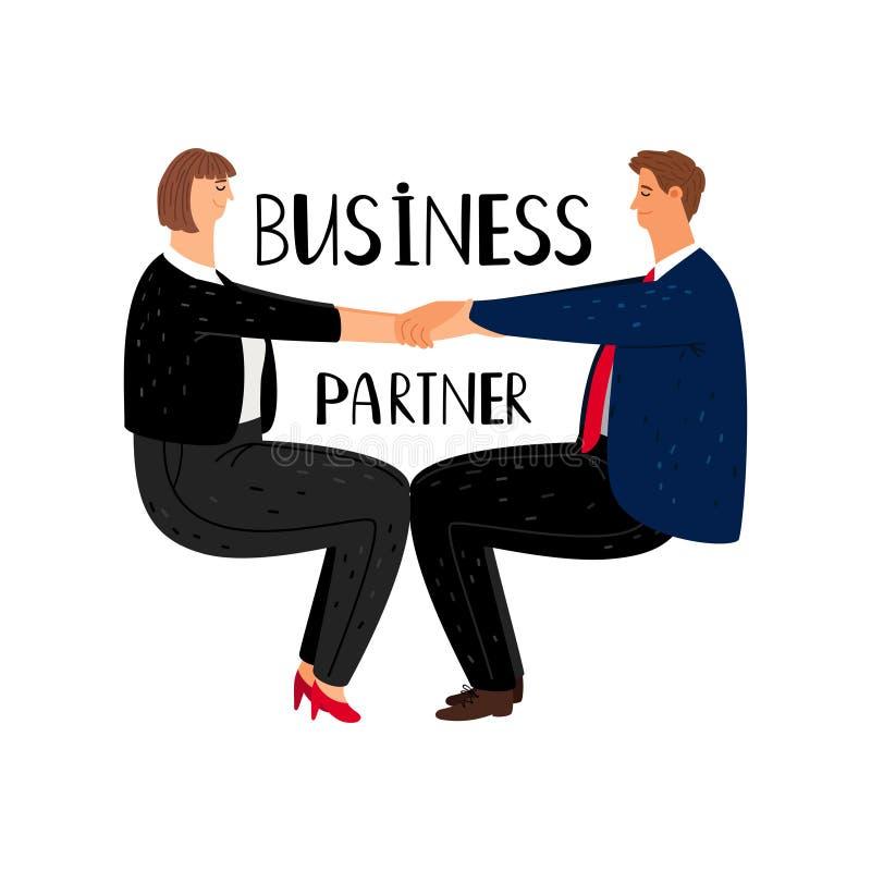 Иллюстрация мультфильма для бизнес-партнеров Профессиональный бизнесмен и женщина с офисной одеждой в позиции йоги, вектор иллюстрация штока