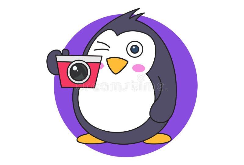 Иллюстрация мультфильма милого пингвина иллюстрация вектора