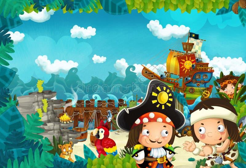 Иллюстрация мультфильма - пираты на диком острове иллюстрация вектора