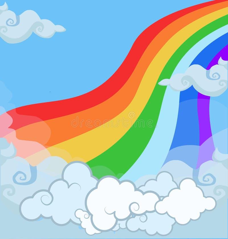 Иллюстрация мультфильма радуги ландшафта фантазии волшебной в облачном небе иллюстрация штока