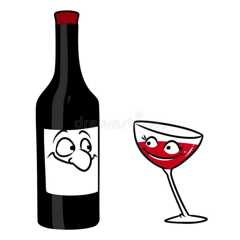 Иллюстрация мультфильма характера flirt вина бутылки стеклянная иллюстрация вектора