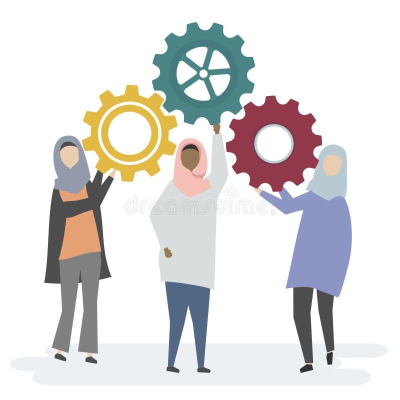 Иллюстрация мусульманских характеров женщин с cogwheels иллюстрация вектора