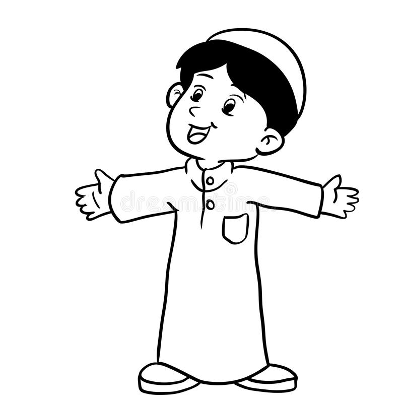 Иллюстрация мусульманской иллюстрации стоять-вектора мальчика бесплатная иллюстрация
