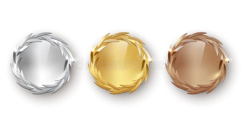 Иллюстрация награды золотая, серебряная и бронзовая пустая медалей 3d реалистическая вектора цвета на белой предпосылке иллюстрация вектора