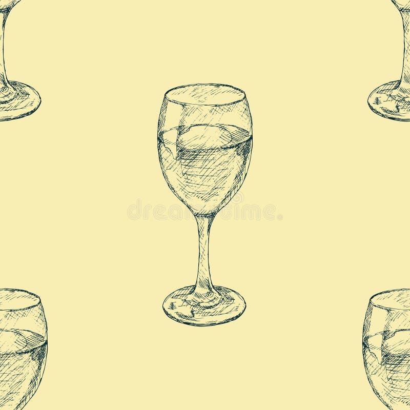 Иллюстрация нарисованная рукой бокала картина безшовная Картина стеклоизделия иллюстрация вектора