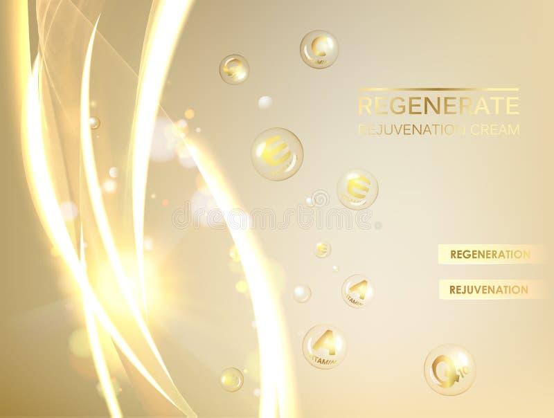 Иллюстрация науки cream молекулы Концепция regenerate сливк стороны и комплекс витамина Органические косметика и кожа иллюстрация штока