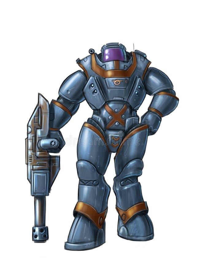 Иллюстрация научной фантастики искусства концепции футуристического характера солдата в оружие удерживания толстой брони или кост бесплатная иллюстрация