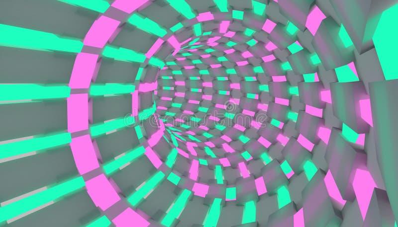 Иллюстрация научной фантастики полета через тоннель Неоновая трубка 3D представляет дизайн иллюстрация вектора