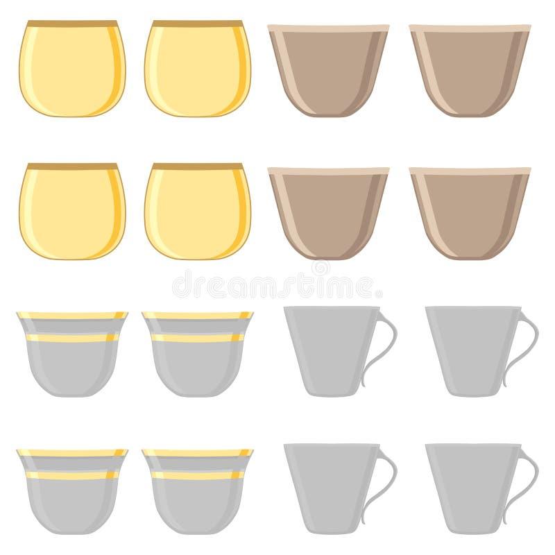 Иллюстрация на теме большие покрашенные установленные чашки разных видов бесплатная иллюстрация