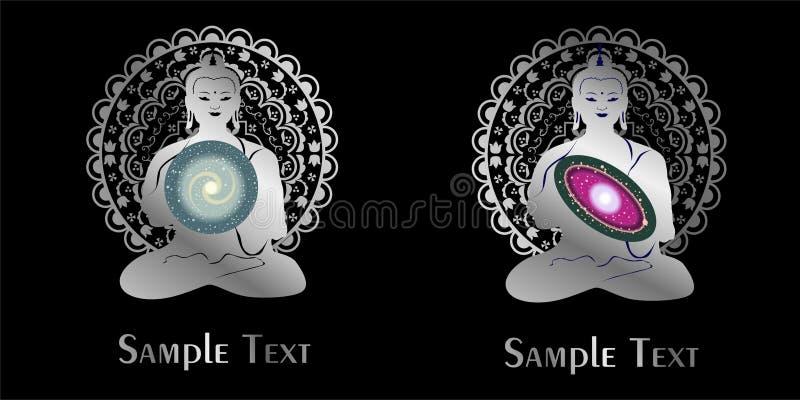 Иллюстрация на теме йоги с мандалой и вселенной бесплатная иллюстрация