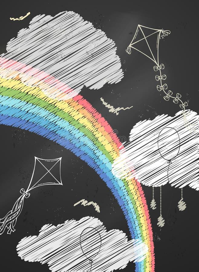 Иллюстрация неба вектора мела иллюстрация штока