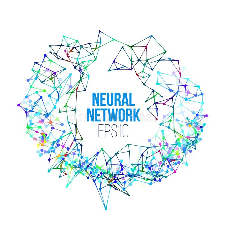 Иллюстрация нервной системы Абстрактный учебный прочесс машинного обучения Геометрическая крышка данных иллюстрация штока