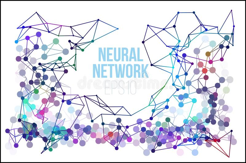 Иллюстрация нервной системы Абстрактный учебный прочесс машинного обучения Геометрическая крышка данных иллюстрация вектора