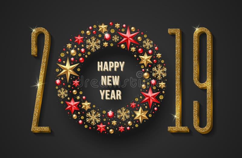 Иллюстрация 2019 Нового Года Золотые числа яркого блеска и золотое оформление праздника также вектор иллюстрации притяжки corel иллюстрация вектора